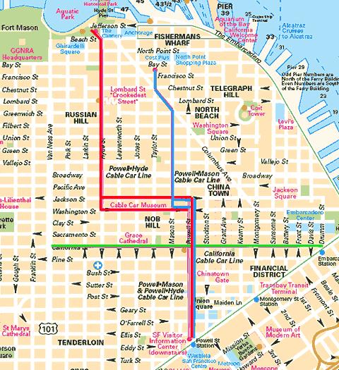 Mapa tramvají v San Franciscu