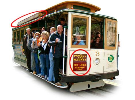 Označení trasy tramvaje v San Francisku