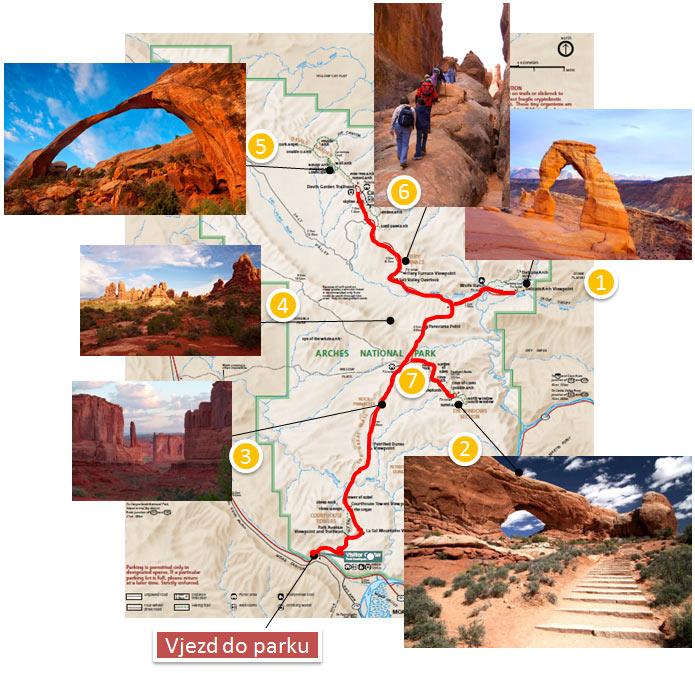Arches národní park - mapa