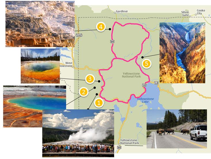 Yellowstone - mapa