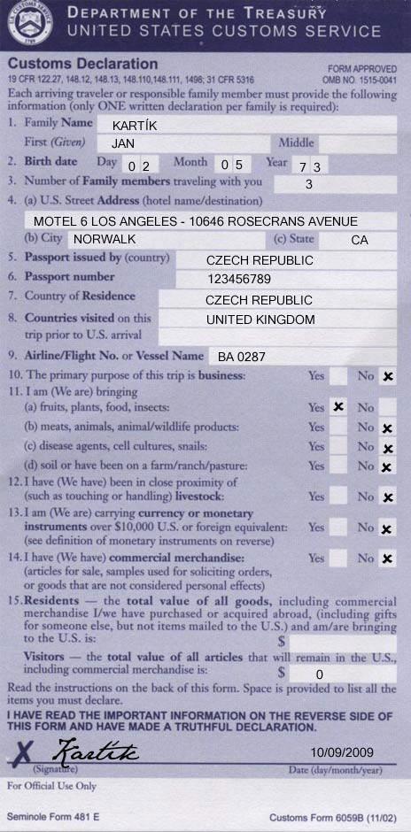 Formulář celní prohlášení do USA